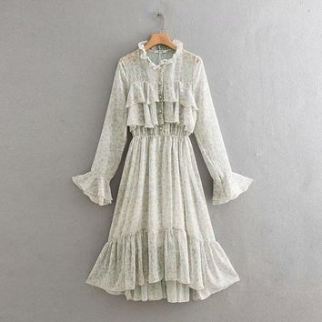 Spring bell sleeves floral fairy dress