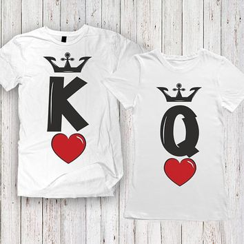 Cool Summer Fashion KING QUEEN Red heart Letters Print T-Shirt Men Women Matching T Shirt Casual Funny Couples Lover Couple T ShirtAT_93_12