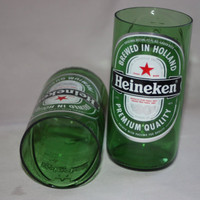 Drinking Glasses - Recycled Beer Bottle - Heineken - 8 oz.