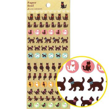 Adorable Kitty Cat Silhouette Animal Stickers for Scrapbooking and Decorating