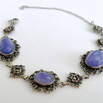 Vintage Filigree and Bezel Set Periwinkle Glass Cabochons, 800 Sterling Silver Link Bracelet for the Smaller Wrist  - 6.5 Inches in Length