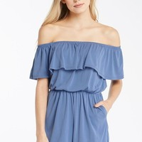 Ruffled Up Off the Shoulder Romper