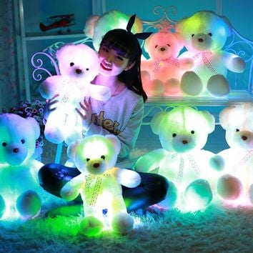 Urijk Colorful Led Teddy Pillow Glowing Teddy Bear Luminous Plush Toy Light Up Bear Toys Doll Kid Christmas Gifts Body Pillow