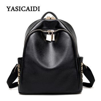 Fashion Womens Rivet Backpack Small Black Leather School Teenage Backpack for Girls Soft Is A Zipper Bag Behind The Backpack