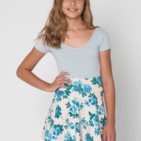 8253p - Floral Print Youth Cotton Spandex Jersey Wide Waistband Skirt