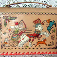 Vintage Tooled Leather Egyptian Motif Purse