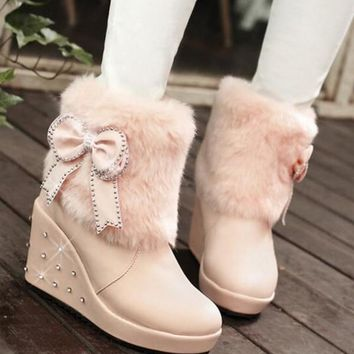 New Pink Round Toe Wedges Bow Rhinestone Faux Fur Patchwork Fashion Ankle Boots