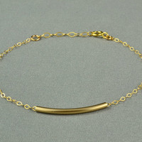 Curved Tube Bracelet, 14K Gold Filled, Delicate Chain, Simple, Pretty, Everyday Wear Bracelet