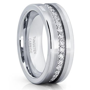 Men's Tungsten Wedding Band - Silver Tungsten Ring - 8mm Ring - Tungsten