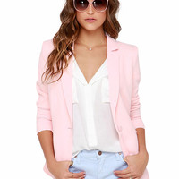 Notched Collar Single Breasted Slim Fit Blazer
