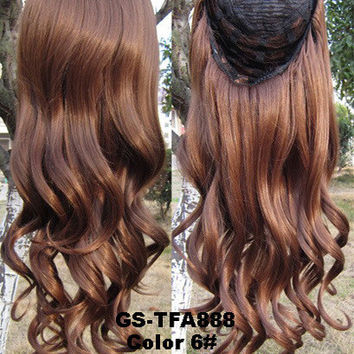 "HOT 3/4 Half Long Curly Wavy Wig Heat Resistant Synthetic Wig Hair 200g 24"" Highlighted Curly Wig Hairpieces with Comb Wig Hair GS-TFA888 6#"