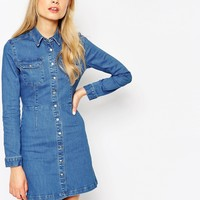 ASOS Denim Western A-Line Shirt Dress