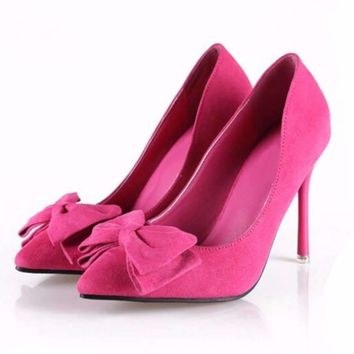 Pointed Toe Bowknot Women Thin Heels Shoes