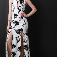Contrasting Flower Maxi Dress