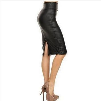 Bohocotol Women Skirt Midi Skirt OL Sexy Open Slit Slim stretch High waist  faux leather pencil skirt Elegant Ladies Skirts