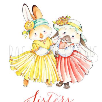 20% SALE! Coupon Code: GRANDOPEN Bunny Sisters! -  Watercolor Giclee Print, Original Artwork, Children's illustration, Nursery Print