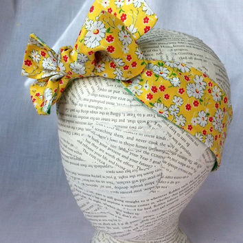Head wrap - Reversible Headwrap - Yellow Green Headband - Baby Toddler Head Wrap - Bandana Headband - Knot Head Wrap - Tie Headwrap - Retro