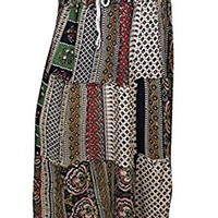 Mogul Interior Womens Alexa Maxi Skirts Beige Printed Tiered Gypsy Flirty Sexy Long Skirts