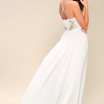 That's Waltz Up Pink and White Embroidered Maxi Dress
