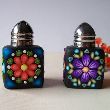 Salt & Pepper Shakers - polymer clay mosaic kaleidoscopes