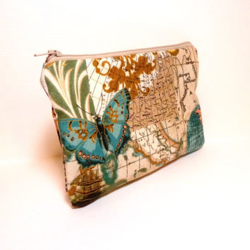 Fabric Zipper Pouch Clutch Bag Cosmetic Pouch Maps and Butterflies in Golds and Teal