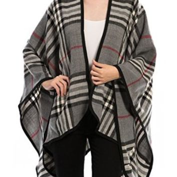 Women's Designer Plaid Poncho Wrap Cape Grey