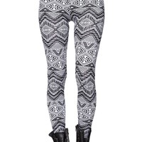LA Hearts Black And White Tribal Leggings - Womens Pants - Tribal