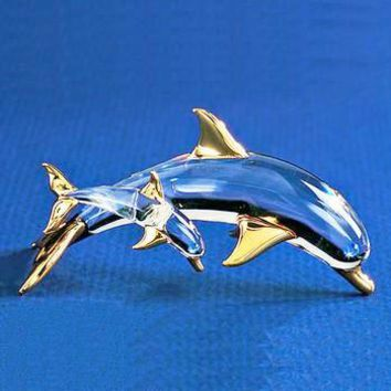 Glass Baron Dolphin and Baby Calf 22k Gold with Swarovski Crystal Figurine