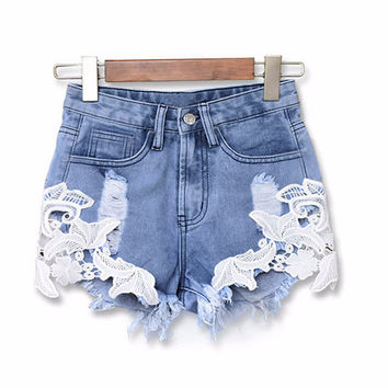 Crochet Trip Denim Shorts