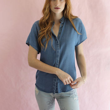Kendall + Kylie Short Sleeve Chambray Top