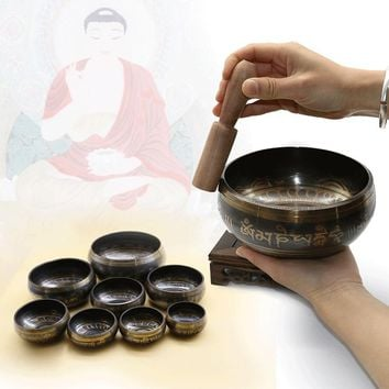 4 Sizes Buddha Yoga Copper Bowl Singing Bowl Himalayan Hand Hammered Chakra Meditation Massage Home Decorative Craftwork