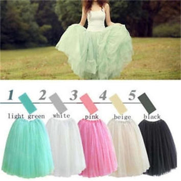 Popular Ladies Princess Style Skirt Five layers elegant gauze Tulle Skirts Summer One size  Length : 70cm      Waist   :  60cm = 1652802564