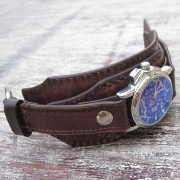 Men's Style Watche, Vintage Leather Watch Cuff, Handmade Leather Wristwatch, Watch Bracelet, Retro Watch