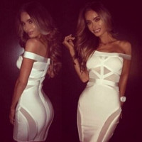 Gorgeous Elegant Celebrity Sexy White or Black bodycon bandage dress cocktail evening party XS-L