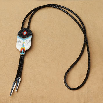 Native American Accessories , Beaded Feather Bolo, Blue , beaded jewelry