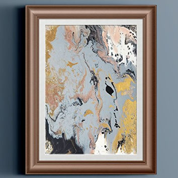 """Black Silver Gold White Abstract Fluid Painting Fine Art Print // """"Solasta"""""""