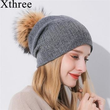 Xthree Winter Women's Hat With Raccoon Pom Pom Beanies Hat Cashmere Knitted Hat Keep Warm  Gorro Wool Hat Brand
