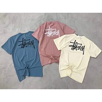 Stussy Trending Women Men Stylish Print Short Sleeve Multi-Color T-Shirt Top I-YF-MLBKS