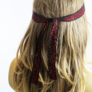 Black and red Lace Headband Hair Bands women for her gift ideas hair accesories Stretchy Lace boho headband bohemian Elastic long