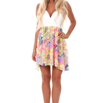 Neon Pink Floral Print Dress with Bow Back
