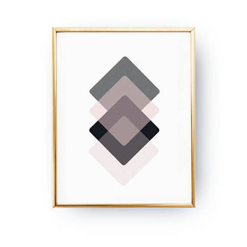 Pink Dark Blue, Mid Century Decor, Subdued Rhombus Print, Pastel Decor, Minimalist Poster, Textured Wall Art, Geometric Shapes, Simple Decor