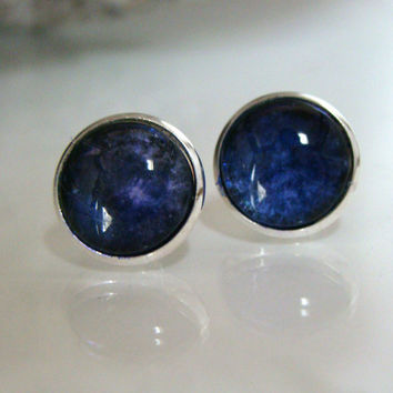 Post Earrings Blue and Silver Post Pierced Earrings Hand painted glass earrings Round post earrings Blue stud earrings Alcohol Ink earrings
