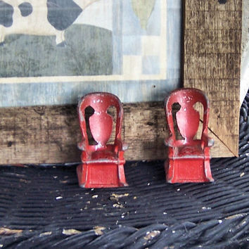 Red Cast Iron Salt & Pepper Shakers Chippy Paint Farm by sienaslew