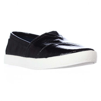 Toms Avalon Casual Slip On Sneakers - Black Patent Linen
