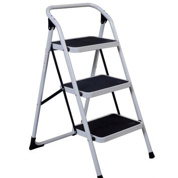 3 Step Iron Ladder Folding Non Slip Safety Tread Heavy Duty Industrial Home Use