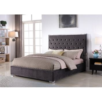 Best Master Furniture Natasha Eastern King Velvet Platform Bed, Dark Grey - Walmart.com