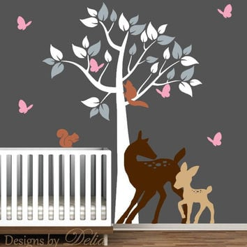 Tree Decal for Nursery with Deer, Baby Deer, and Butterflies