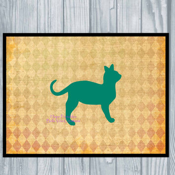 Cat Digital Art , Instant Downloadable Cat Print , Teal Wall Art , Cat Lover Printable Decor , Harlequin background , Teal Tan Home Decor