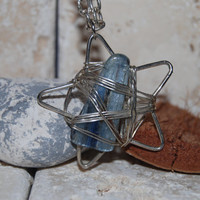 Wire wrapped Labradorite Silver Star Pendant with Chain