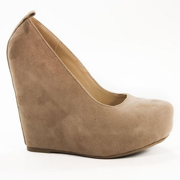alfa Taupe By Soda, Slip On Platform High Wedge Sandal